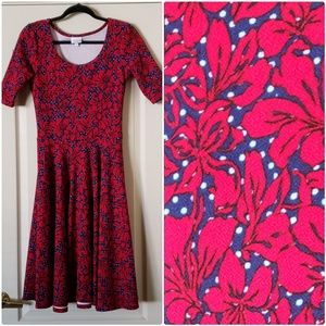 Nicole lularoe dress size S polka dots and floral